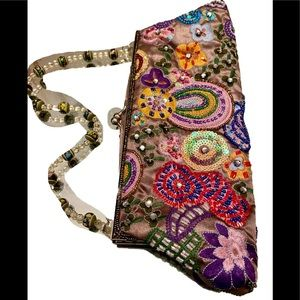 Embroidered beaded Evening Bag -4x10 embroidered